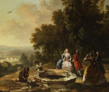 Christian Georg Schütz, Höfische Gesellschaft am Brunnen. Public domain.